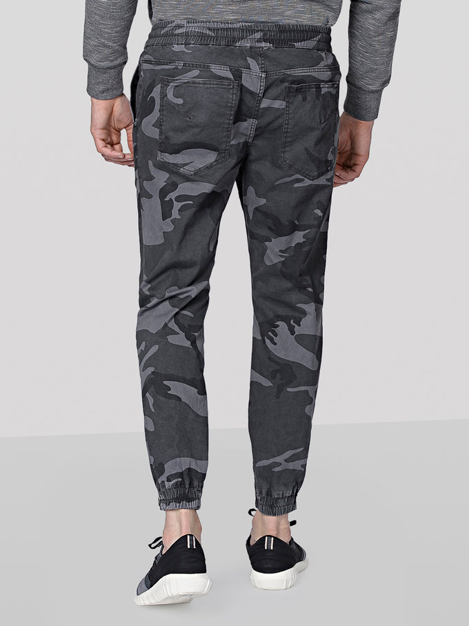TRUEXCORE CAMO JOGGERS WITH ZIPS DARK GREY