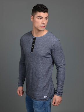 GIOVANNI LONG SLEEVE HENLEY T-SHIRT