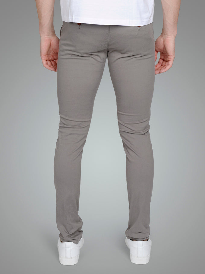 GREY SKINNY FIT CHINO PANTS STEEL GRAY