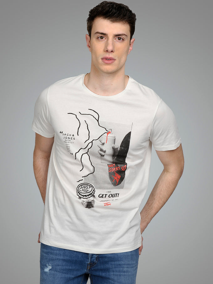 ORIGINALS T-SHIRT WITH ABSTRACT PRINT CLOUD DANCER
