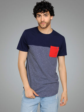LONG FIT POCKET T-SHIRT WITH STRIPES