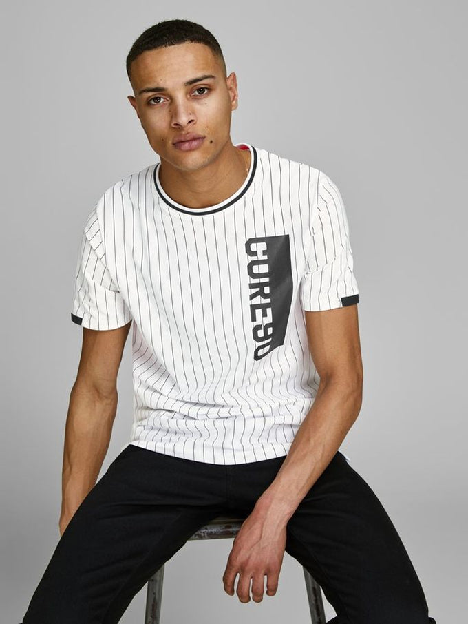 CORE 1990 STRIPED T-SHIRT WHITE