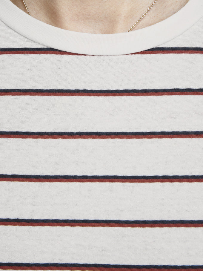 T-SHIRT WITH RETRO STRIPES CLOUD DANCER