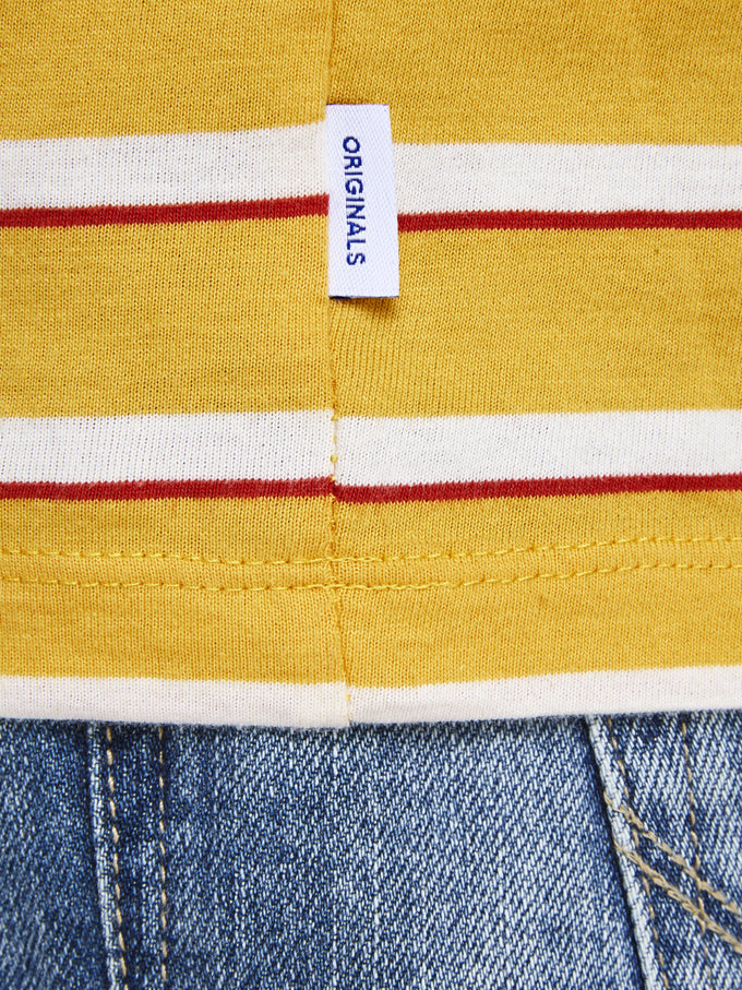 T-SHIRT WITH RETRO STRIPES YOLK YELLOW