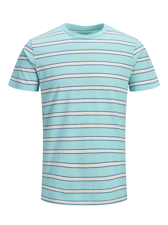 T-SHIRT WITH RETRO STRIPES AQUA SKY
