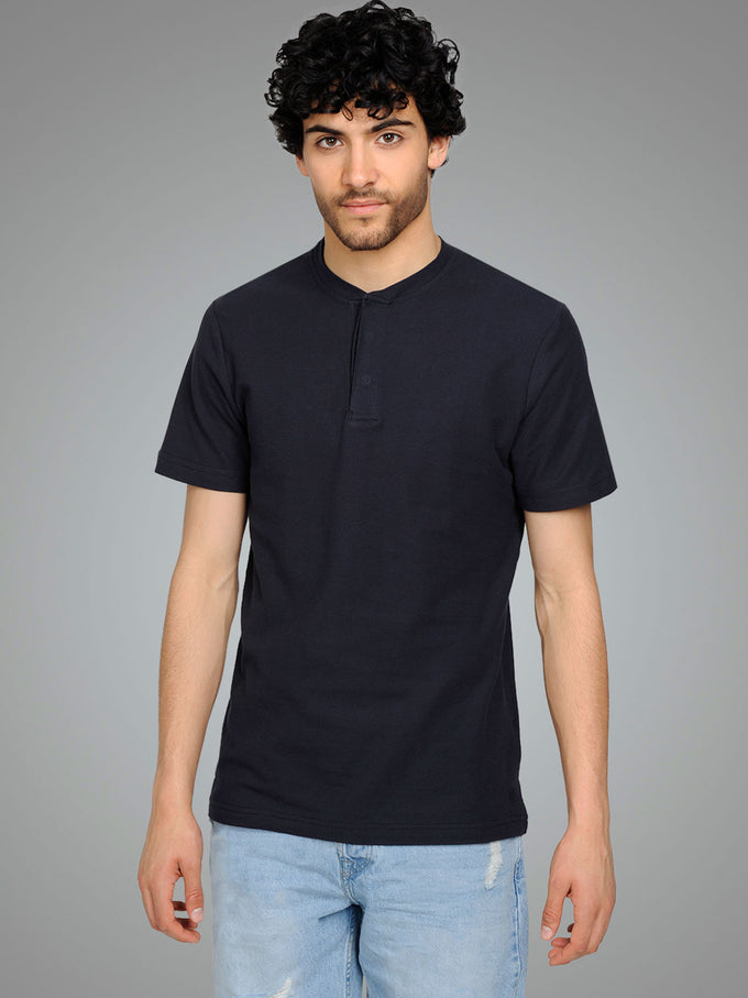 SOLID POLO WITH HIDDEN CLOSURE DARK NAVY