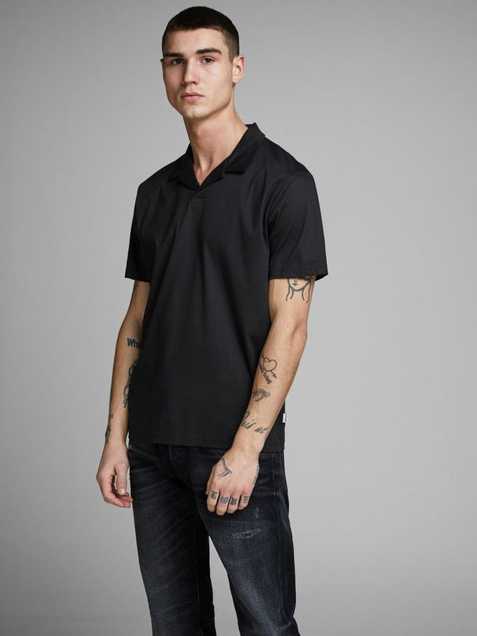CUBAN COLLAR POLO BLACK