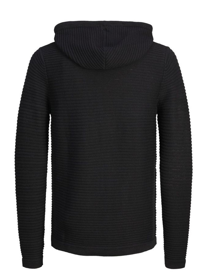 RIBBED ZIP-UP KNIT HOODIE BLACK