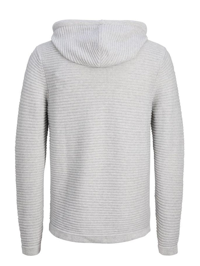 RIBBED ZIP-UP KNIT HOODIE LIGHT GREY MELANGE