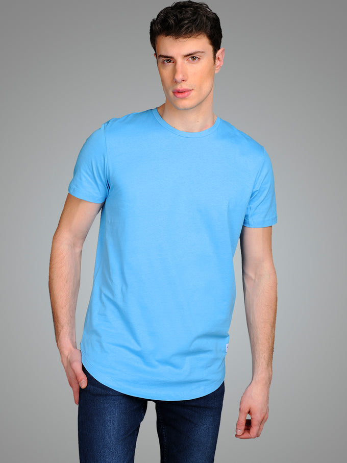 LONG CURVED T-SHIRT BONNIE BLUE