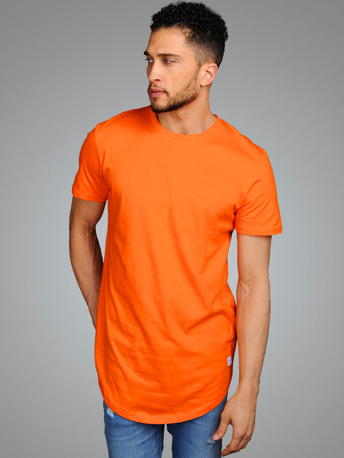 LONG CURVED T-SHIRT EXOTIC ORANGE