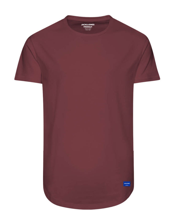 LONG CURVED T-SHIRT BRICK RED