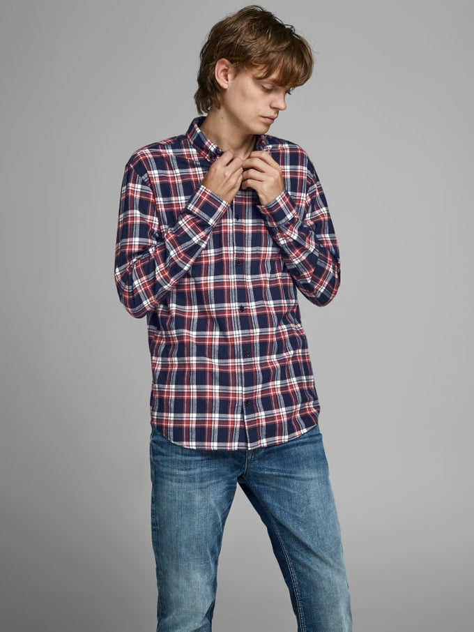 ESSENTIALS CHECKERED FLANNEL SHIRT BRICK RED