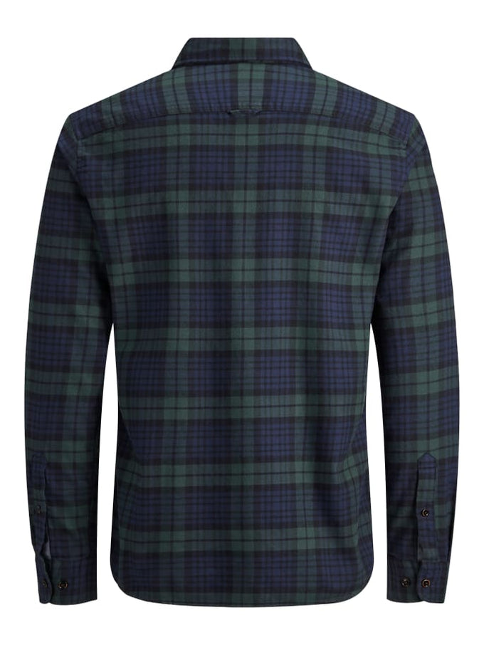 ESSENTIALS CHECKERED FLANNEL SHIRT OLIVE NIGHT
