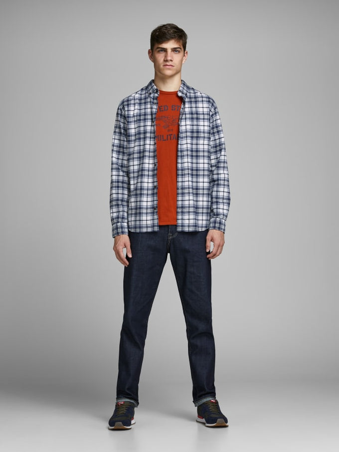 ESSENTIALS CHECKERED FLANNEL SHIRT WHITE