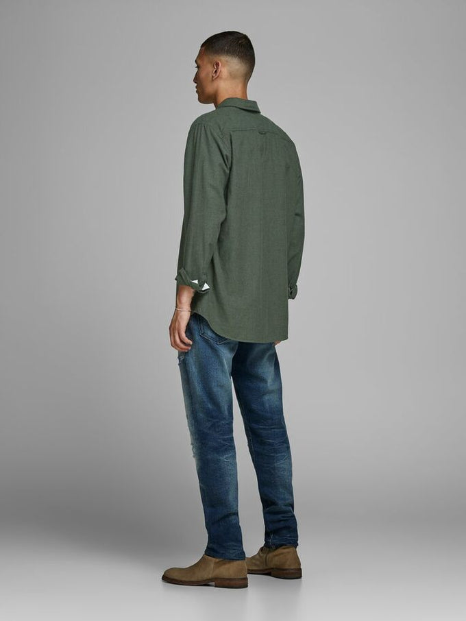 MELANGE SLIM FIT SHIRT OLIVE NIGHT
