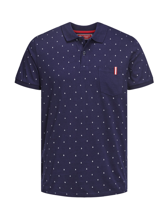 CORE POLO WITH AMPERSAND PRINT MARITIME BLUE