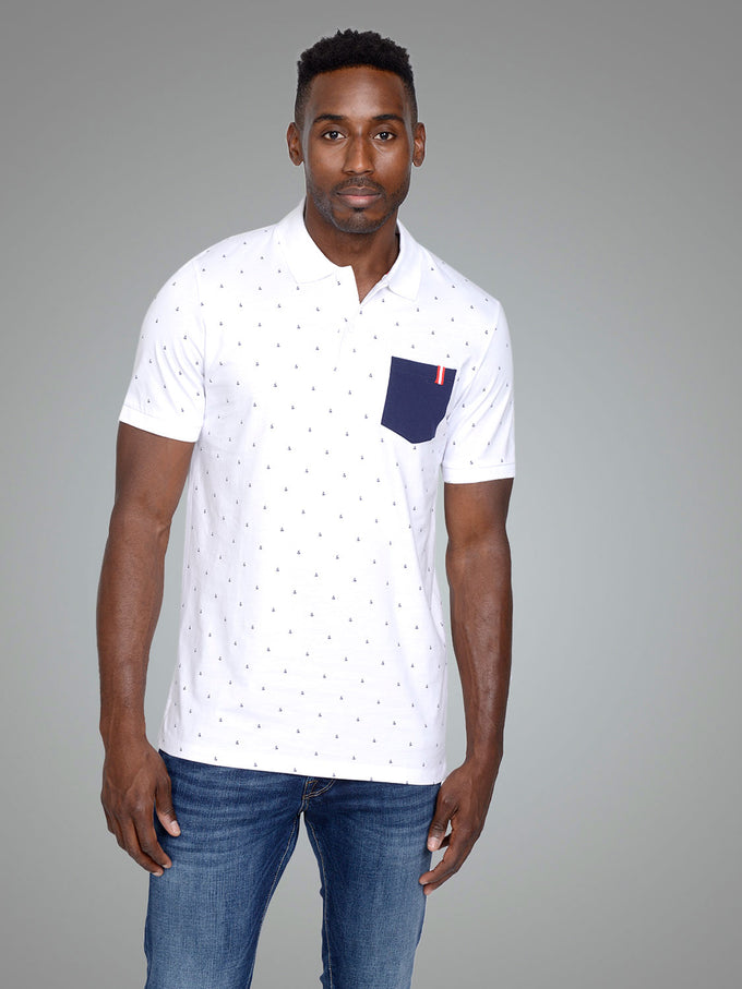 CORE POLO WITH AMPERSAND PRINT WHITE