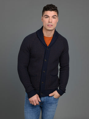 TERRY KNIT SHAWL NECK CARDIGAN