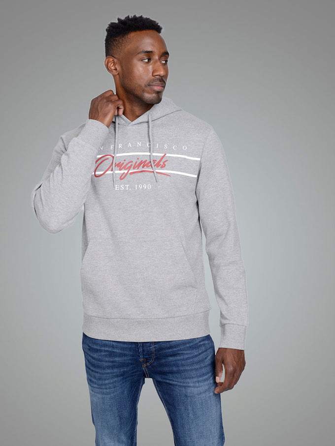 CITY PRINT HOODIE LIGHT GREY