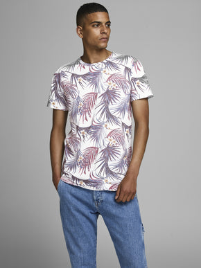 LONG FIT TROPICAL T-SHIRT WIH FADED DESIGN