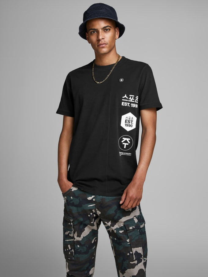 ASIA INSPIRED LONG FIT T-SHIRT BLACK