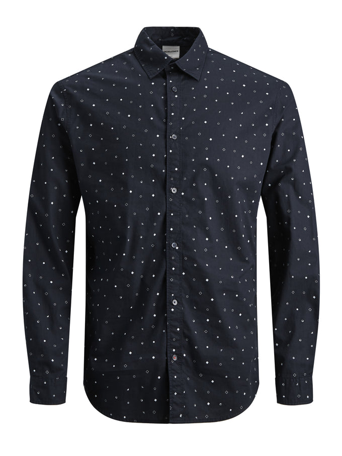 MICRO-PRINT SLIM FIT SHIRT SKY CAPTAIN