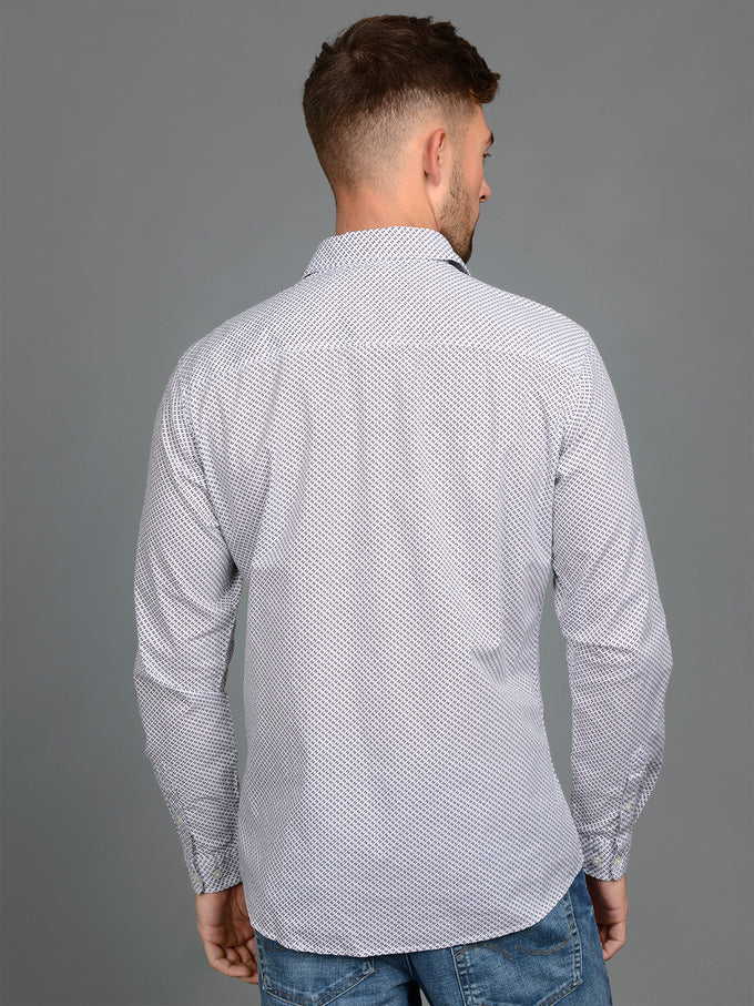 MICRO-PRINT SLIM FIT SHIRT WHITE