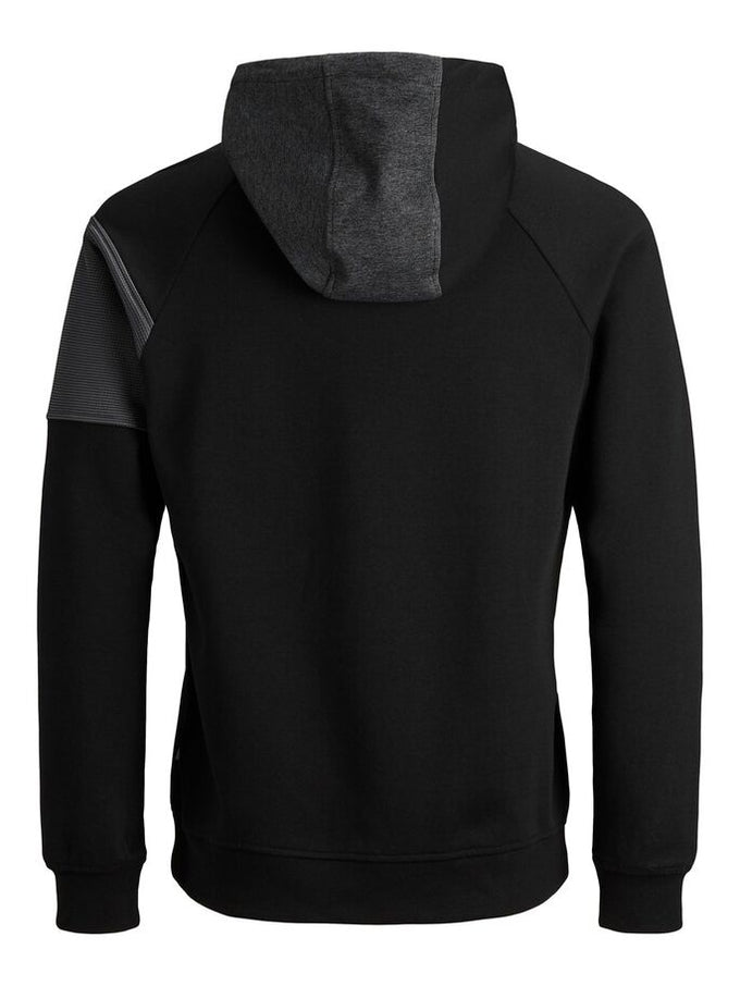 TWO-TONE ATHLETIC ZIP-UP HOODIE BLACK