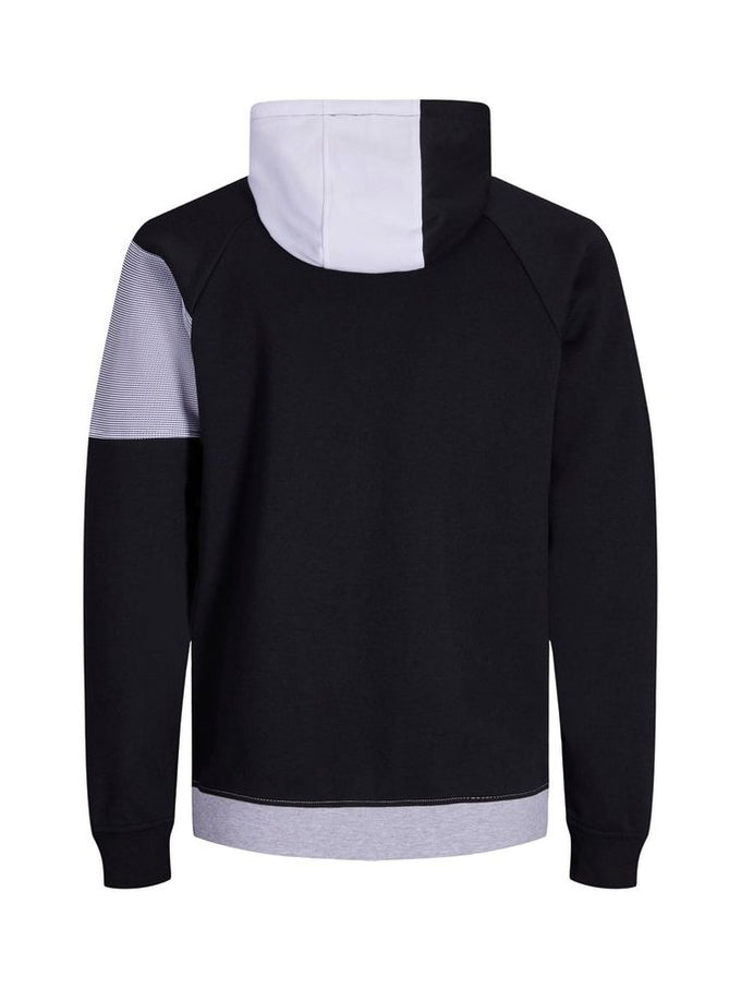 TWO-TONE ATHLETIC ZIP-UP HOODIE WHITE