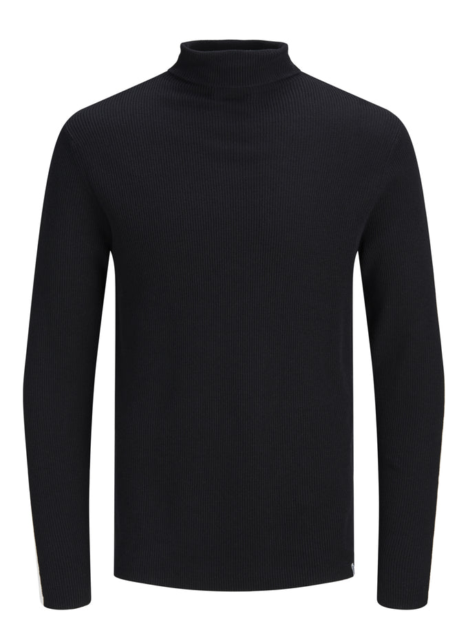 MOCK NECK STRIPED SWEATER BLACK