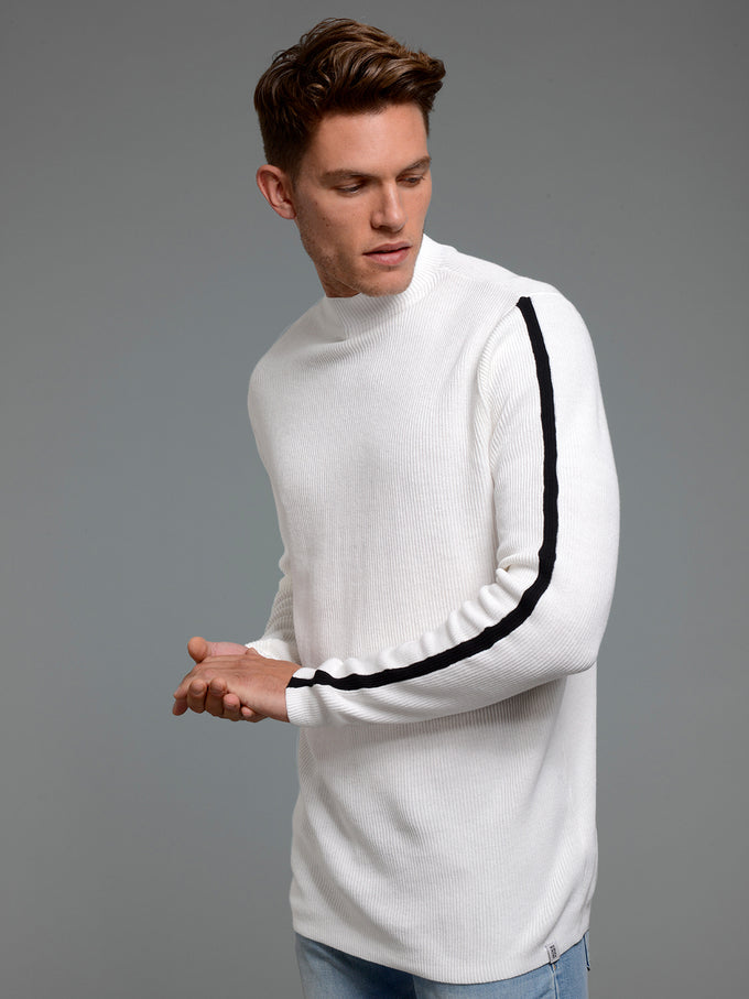 MOCK NECK STRIPED SWEATER CLOUD DANCER