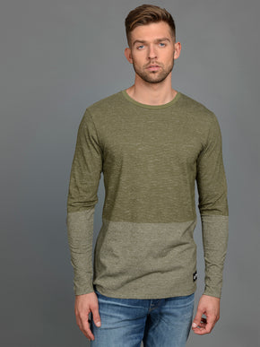 LONG SLEEVE HEATHERED T-SHIRT