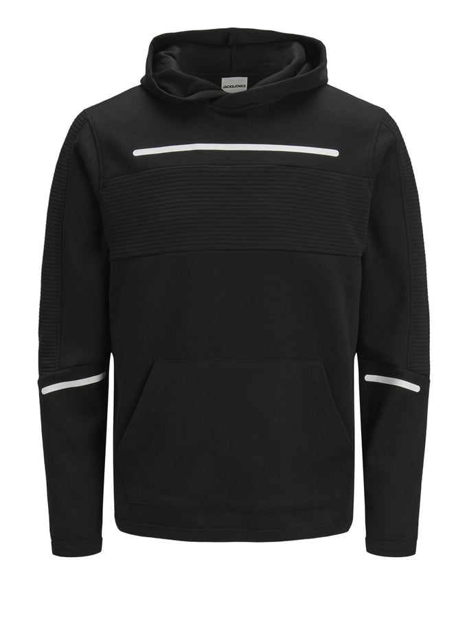CORE HOODIE WITH RIBBED PANELS BLACK