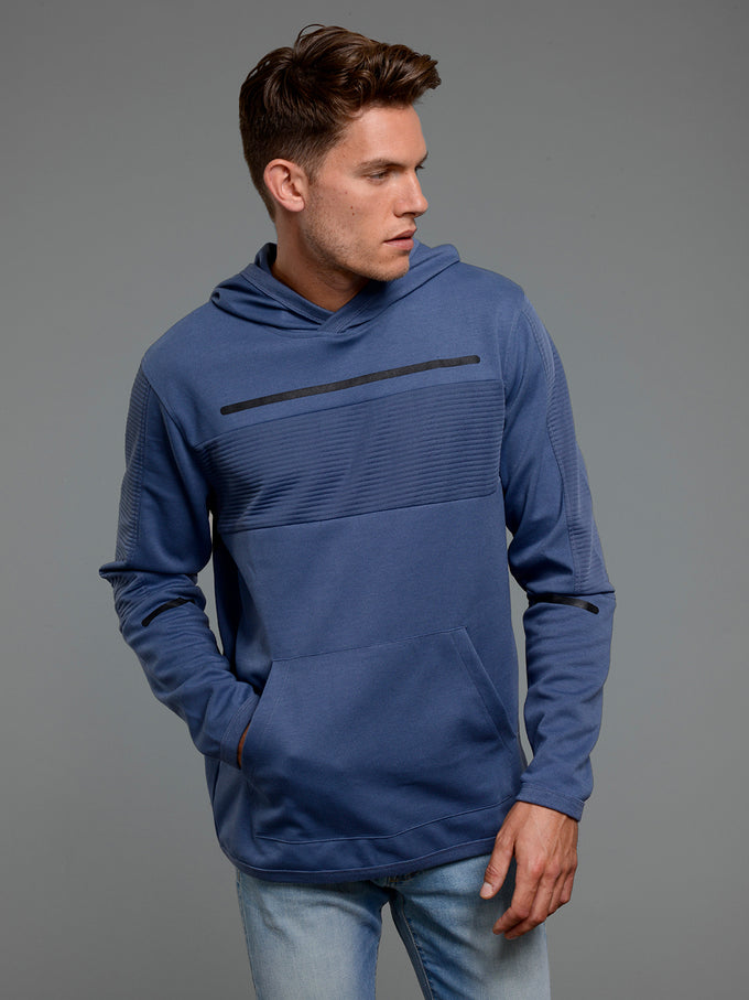 CORE HOODIE WITH RIBBED PANELS CHINA BLUE
