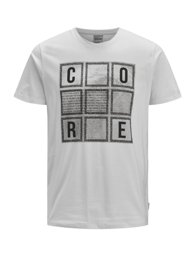 CORE T-SHIRT WITH SPECKLED PRINT WHITE