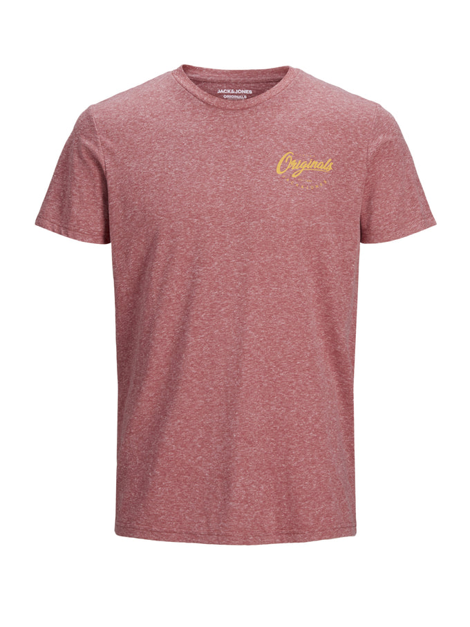 HEATHERED T-SHIRT WITH LOGO BRICK RED
