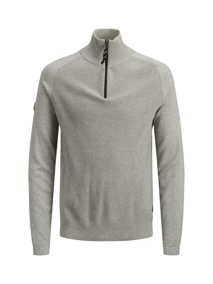 KLOVER HIGH-NECK SWEATER LIGHT GREY MELANGE