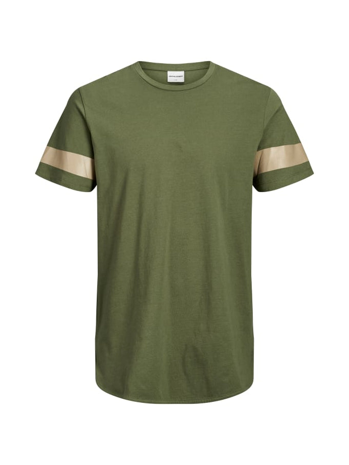 LONG FIT T-SHIRT WITH SIDE STRIPES WINTER MOSS