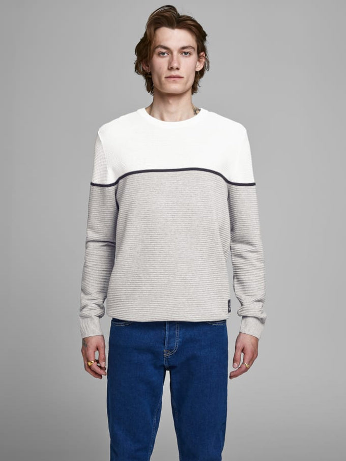 BRIT COLOURBLOCK SWEATER CLOUD DANCER
