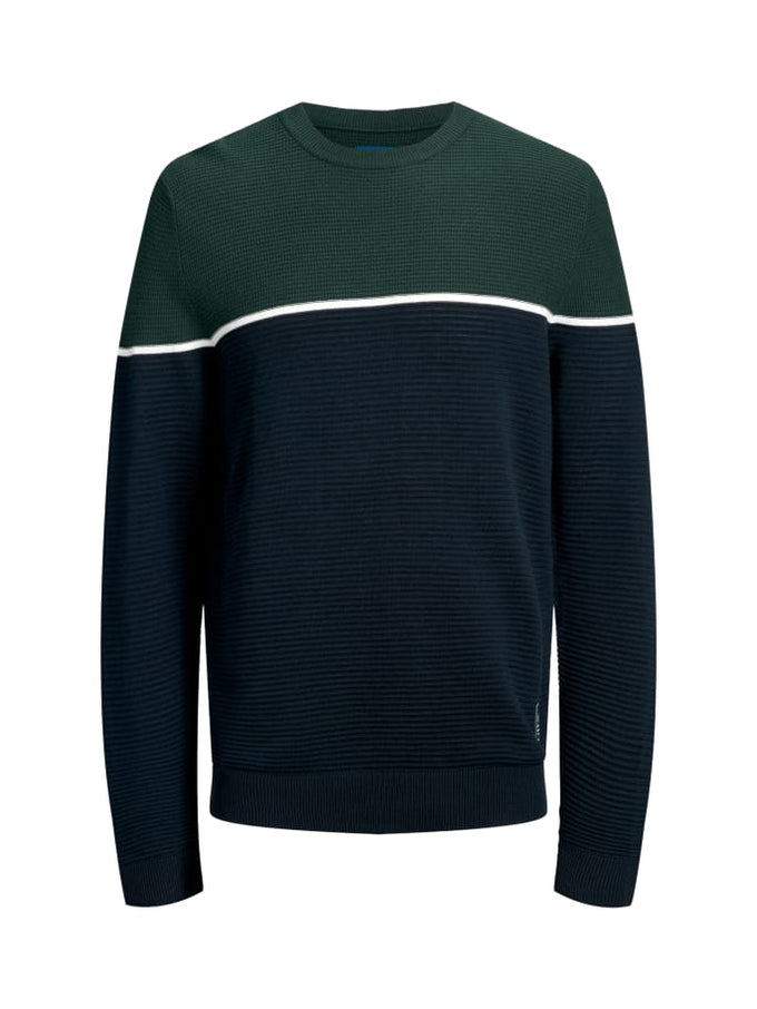 BRIT COLOURBLOCK SWEATER SEA MOSS