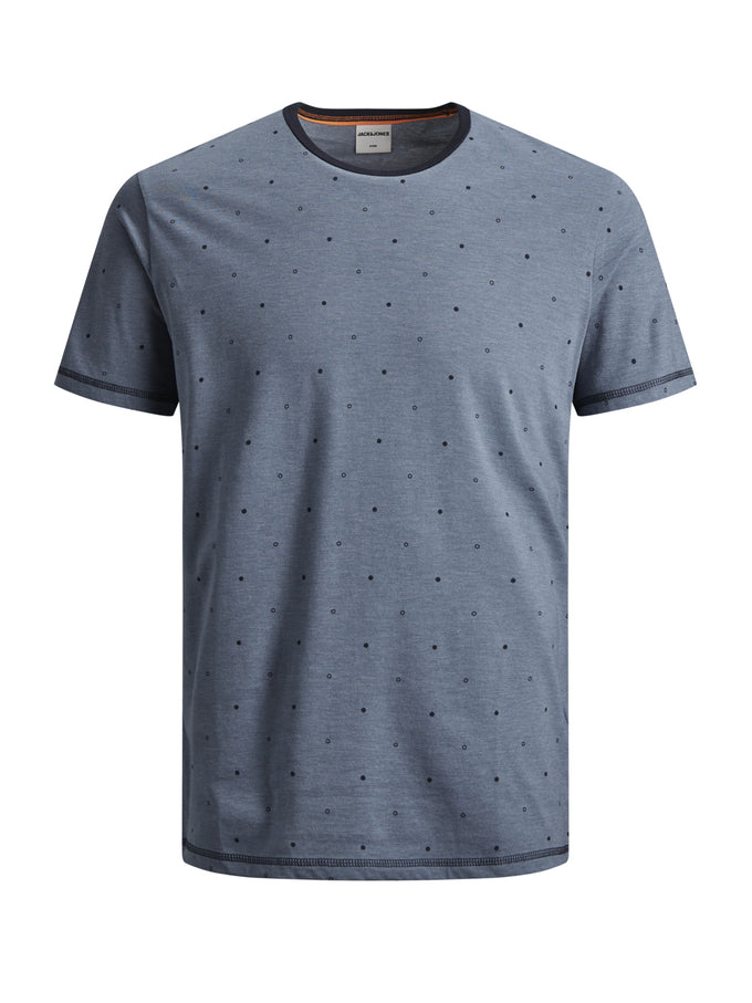 STRETCHY DOTTED PRINT T-SHIRT CHINA BLUE