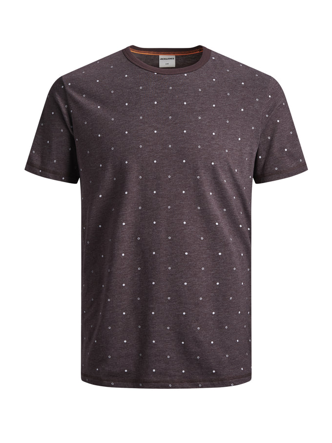STRETCHY DOTTED PRINT T-SHIRT FUDGE