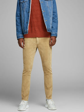 BEIGE CORDUROY SLIM FIT PANTS