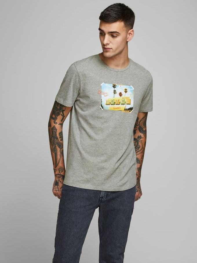 ORGANIC LUCIANO T-SHIRT LIGHT GREY MELANGE