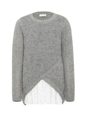 LONG SWEATER WITH DOTTED LINING
