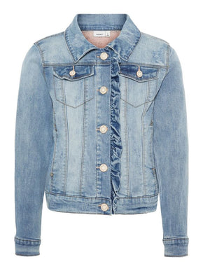 DENIM JACKET WITH FRILLS