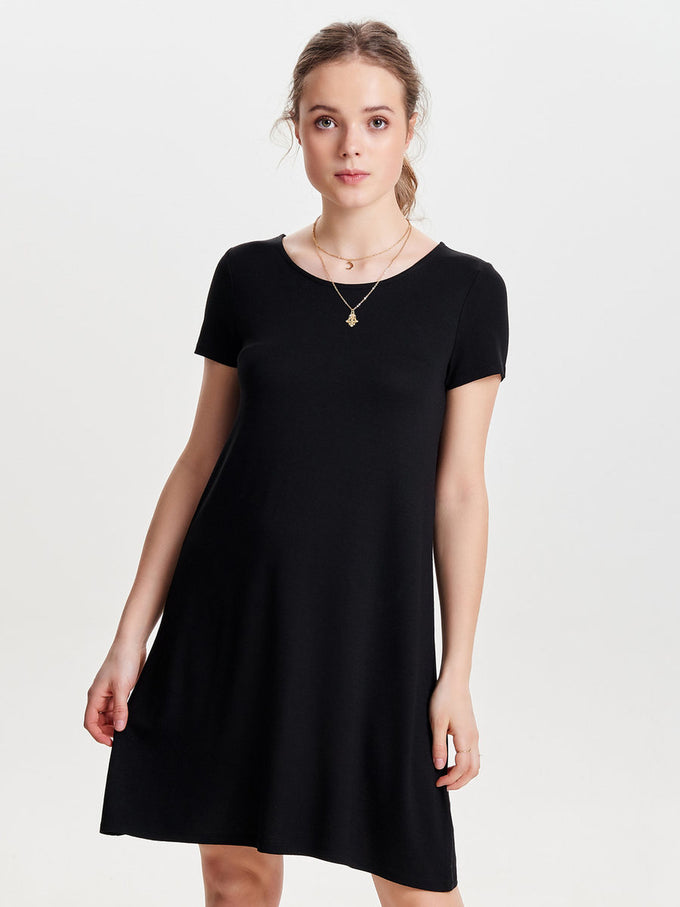 JERSEY T-SHIRT-DRESS SOLID BLACK