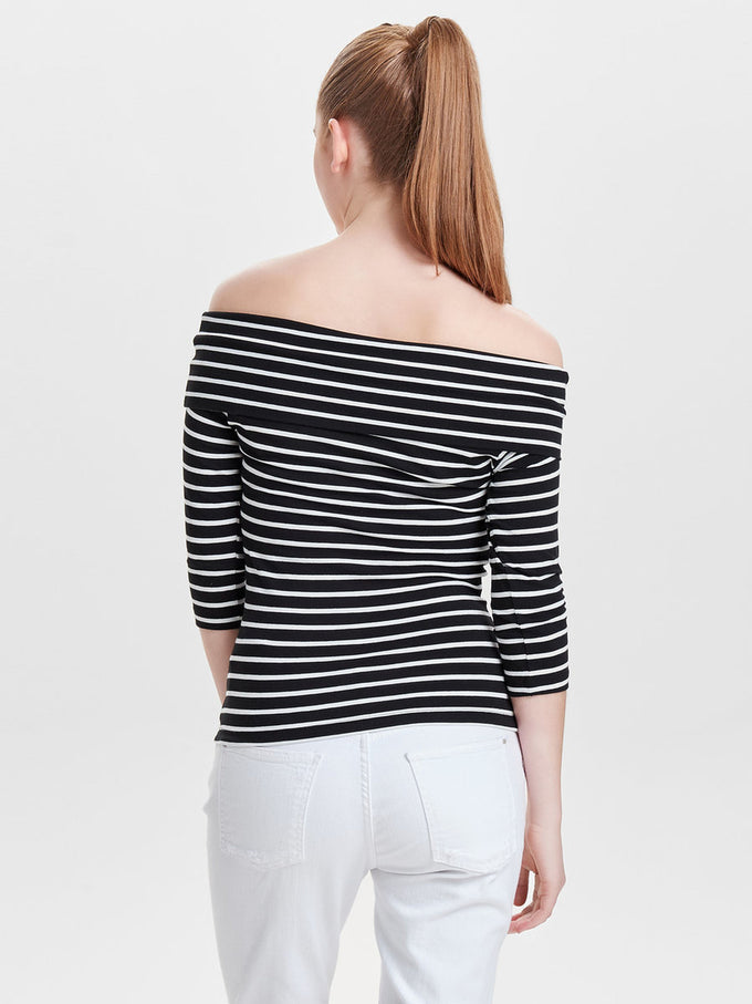 OFF-THE-SHOULDER T-SHIRT BLACK STRIPES