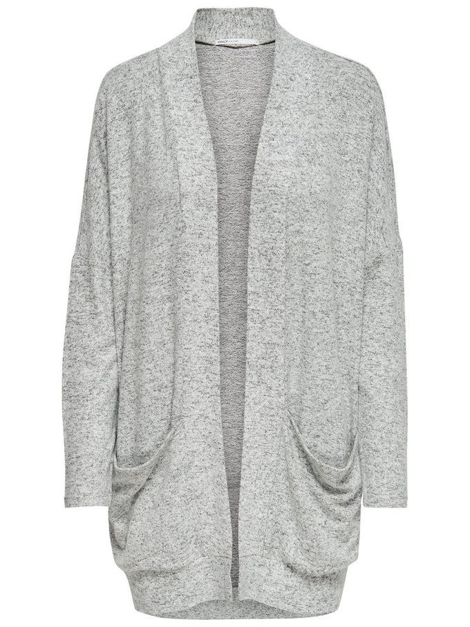 CARDIGAN AMPLE GRIS PALE